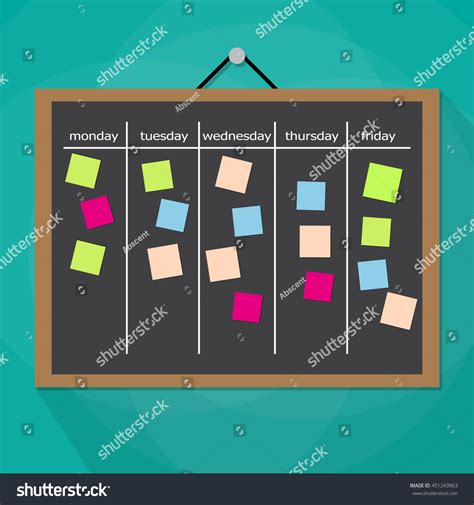 Scrum Task Board Hanging On Wall Stock Vector 451243963
