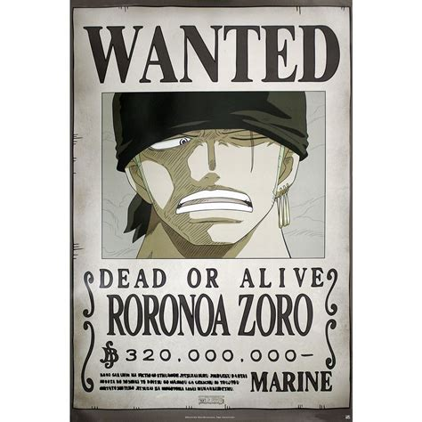 One Piece Poster Wanted Roronoa Zoro - Posters buy now in
