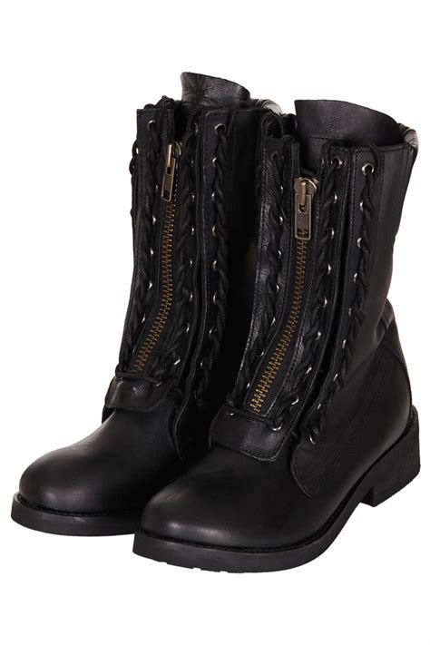TOPSHOP Ask Lace Up Biker Boots in Black - Lyst