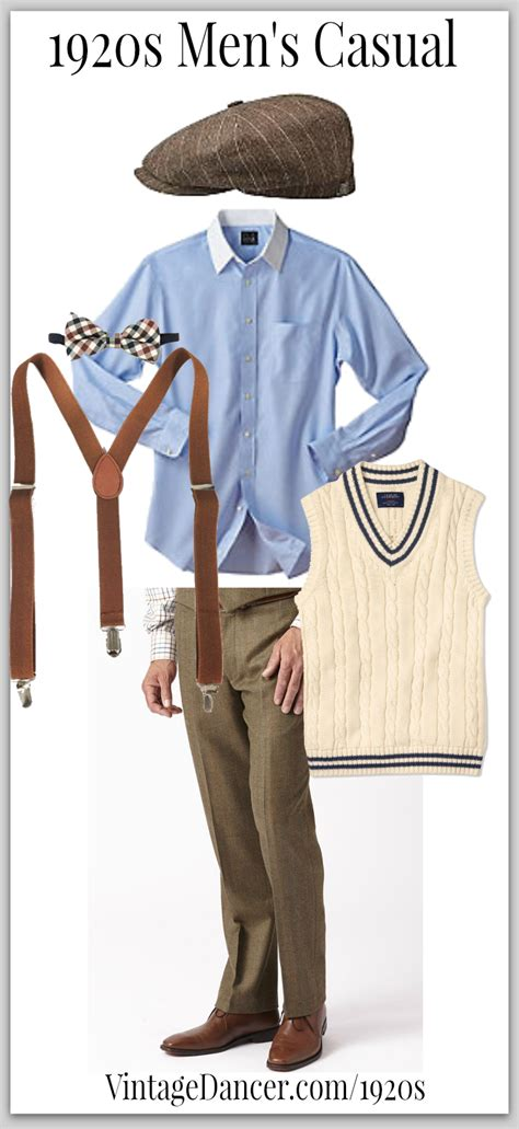 Casual men's 1920s look can be worn with or without a