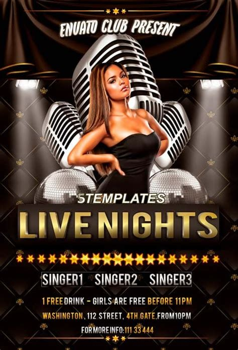 Live Nights Throwback Party Free Flyer PSD Template for