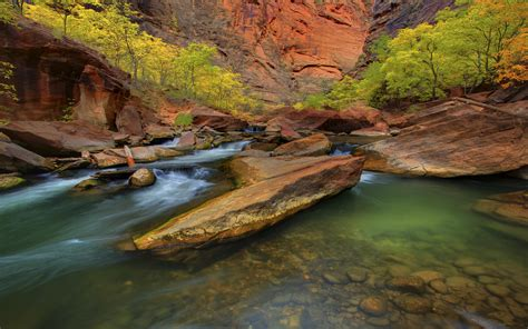 Mountain River, Clear Green Water Riverbed With Red Rocks