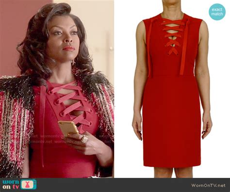 WornOnTV: Cookie's red lace-up dress and red textured coat